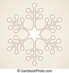 One big white and brown snowflake over beige background.