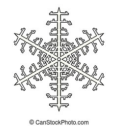 Snowflake Outline Icon Graphic Symbol Design. Vector illustration isolated on white background.