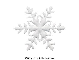 Paper cutout snowflake on white