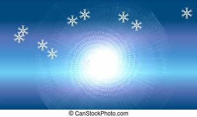 Snowflake particles on blue gradient background. Flying snow...
