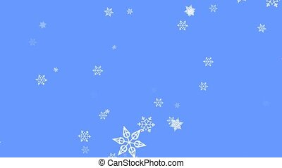 Snowflake particles on light blue background. Flying snow on...