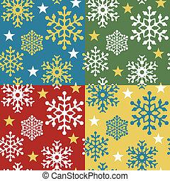 Snowflake Pattern in 4 Colorways - Seamless snowflake...