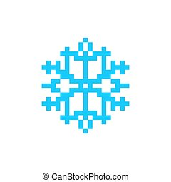 Snowflake pixel art icon. Snow 8bit.