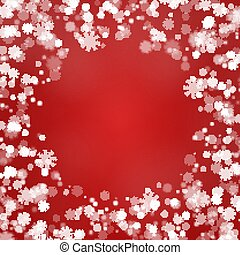 Snowflake round border vector isolated on red background. Christmas falling snow frame. Winter xmas