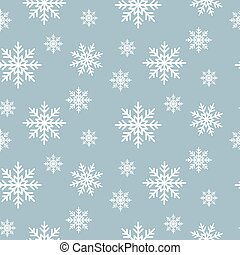 Snowflake seamless pattern. Snow flakes on blue winter background. Abstract wallpaper and gift paper wrap design.