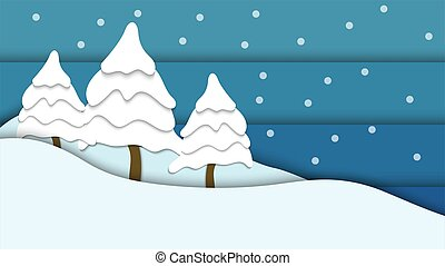 snowflake season illustration background vector with paper art style