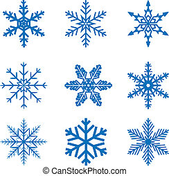 snowflake set - llustration set blue Snowflake isolated on ...