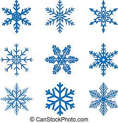 snowflake set - llustration set blue Snowflake isolated on...