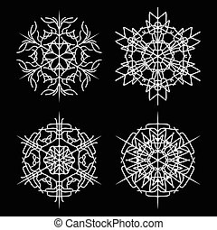 snowflake set vector silhouette symbol icon design.