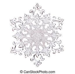 Snowflake shape, photo on the white background