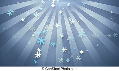 snowflake shapes falling in circular rays loopable animation
