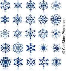 Snowflake shapes set 2 - Vector collection of snowflake ...