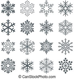 Snowflake shapes vector set isolated on white background.