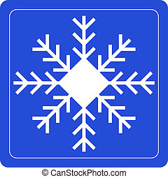 snowflake sign on blue background