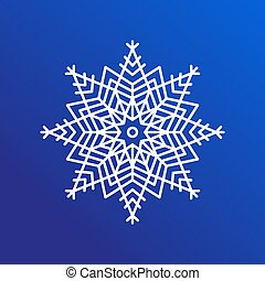 Snowflake Single Icon on Blue Vector Illustration