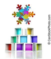 Snowflake symbol colorful 3d design illustration