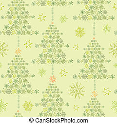 Snowflake Textured Christmas Trees seamless Pattern...