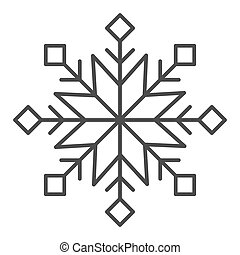 Snowflake thin line icon. Snow vector illustration isolated on white. Winter outline style design, designed for web and app. Eps 10.