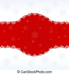 Snowflake vector background with red copy space.