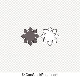 Snowflake Vector. Gray flat vector snowflakes icon on transparent background