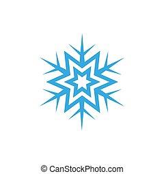 Snowflake vector icon. Blue snowflake on a white