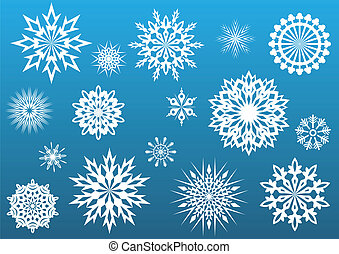 Snowflake vector shapes set.
