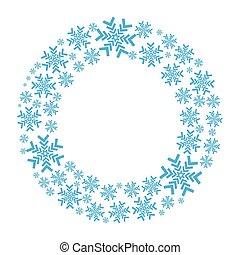 Snowflake vector wreath isolated