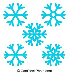 snowflake, -, vetorial, snowflakes, jogo, isolado, branco, fundo