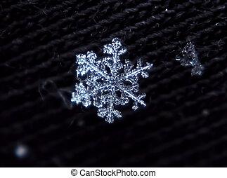 Snowflake white and shiny macro