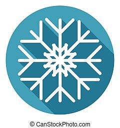 Snowflake White Flat Icon Over Blue Winter Background