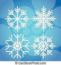 Snowflake White Over Blue Winter Background