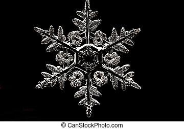 Snowflake - White snowflake on the black