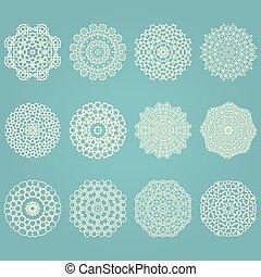 Snowflake winter geometric vintage set Vector illustration