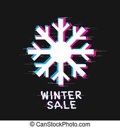 snowflake winter sale text glitch design - Snowflake and ...
