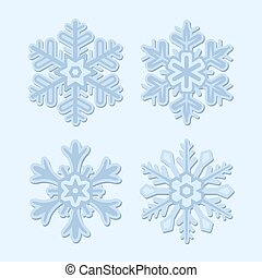 Snowflake Winter Set Isolated on Light Background. Vector