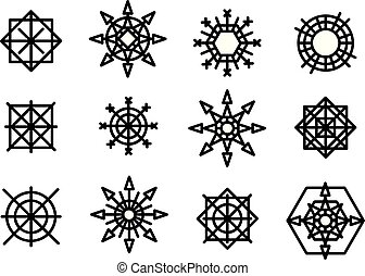 snowflake winter set of black isolated nine icon silhouette on white background