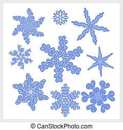 Snowflake winter set.