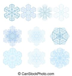 Snowflake winter set, vector