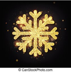 Snowflake with gold glitter texture. Christmas, New Year golden glittering ornament decoration on black background with shining sparkling light effect. Vector isolated icon.
