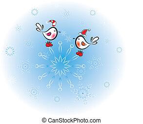 snowflake.christrmas.vector, uccelli, illustrazione