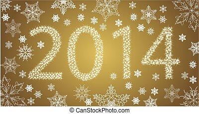 snowflakes., år, vektor, stjärnor, färsk, 2014, vit, lycklig