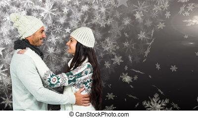 snowflakes, зима, пара, falling