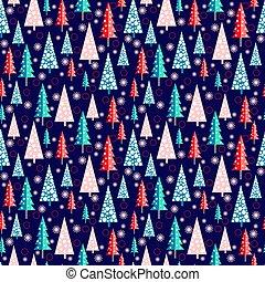 snowflakes., パターン, 森林, モミ, クリスマス