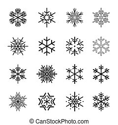 snowflakes., ベクトル, 黒, コレクション, イラスト