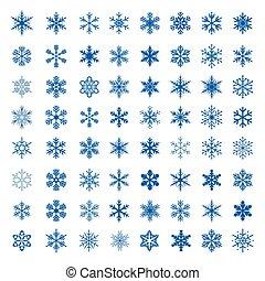 snowflakes., 大きい, ベクトル, コレクション