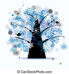 snowflakes., 木, holiday., 冬, クリスマス