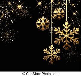 snowflakes., 黒, クリスマス, 背景