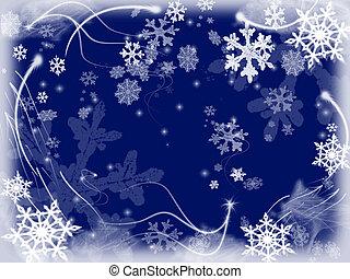 snowflakes 3 - white snowflakes over dark blue background...