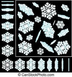 Snowflakes 3D Vector Illustrations Set