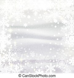Snowflakes against snowdrifts. Winter congratulation background